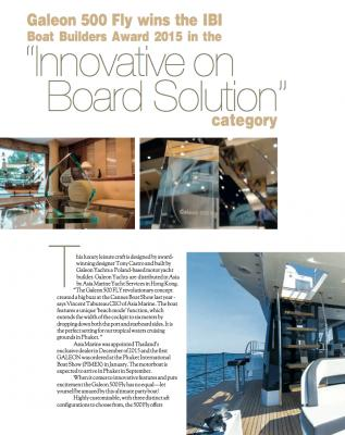 "Galeon 500 Fly wins the IBI  Boat Builders Award 2015 in the  ""Innovative on  Board Solution""  category"